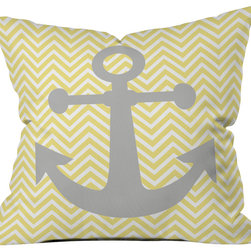 DENY Designs - Lara Kulpa Yellow Anchor Throw Pillow - Wanna transform a serious room into a fun, inviting space? Looking to complete a room full of solids with a unique print? Need to add a pop of color to your dull, lackluster space? Accomplish all of the above with one simple, yet powerful home accessory we like to call the DENY throw pillow collection! Custom printed in the USA for every order.