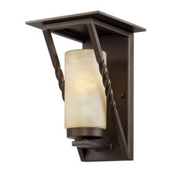 Designers Fountain - Designers Fountain Parkview Transitional Outdoor Wall Sconce X-ZBF-12913SE - Clean lines and traditional details have been blended together for a unique look on this Designers Fountain outdoor wall sconce. From the Parkview Collection, it features a stylish Flemish Bronze finish that compliments the warm undertones of the tea stained French swirl.