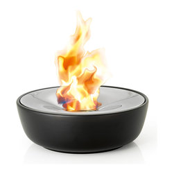 Blomus - Fuoco Tabletop Gel Firepit, Large - This tabletop gel firepit hold 2 hours worth of burning gel and includes stainless steel snuffer. Smokeless, clean burning fire suitable for indoors or out. Made of ceramic and polished stainless steel.