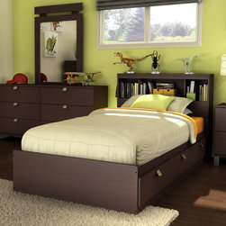 """South Shore - Cakao Panel Bed - South Shore's stylish and family-friendly furniture is made of laminated engineered wood, which gives it great strength and durability. They use wood panels entirely made from recovered and recycled material. While they do their share to preserve the environment by conserving our forests, South Shore Industries makes no compromise when it comes to quality and product durability. These quality products are designed for easy maintenance and offered at very competitive prices. The Cakao collections simple yet refined style and clean lines will imbue any room with a bright and modern aura in addition to having as many storage spaces as one could wish for. The absence of kick plates gives the furniture a light and airy appearance, making it'seem like the drawers are floating above the appealing L-shaped metal legs. The sloped metal handles highlight the collections modern design and make opening and closing the drawers a breeze. What better choice than the Chocolate finish to warm up your home? With its rich chocolate finish and sleek, contemporary lines, this Cakao 39"""" Bookcase Headboard Bedroom Set will enhance any bedroom. With many optional pieces you'll be able to complete the whole look. Features: -Includes twin bookcase headboard and twin mates bed box. -Constructed of Engineered Wood. -Headboard has three-space open storage. -3 Practical drawers (all on the same side). -Reversible: the headboard can be attached to either end, so the drawers can be accessed from either side. -Elegant square metal handles. -Rounded corners for increased safety. -Drawer slides made of polymer, which feature a safety latch and dampers. -Headboard features 3 open practical and accessible storage spaces. -Headboard features one hole in the back panel for easy wire management. -Headboard back surface is not laminated. -No box spring required. -In order to reduce the risks of damage to a minimum during shipment of your furniture, our packaging is ISTA 3A c"""