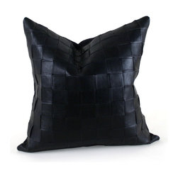 """Pfeifer Studio - Black Basket Woven Leather Pillow, 16"""" x 16"""" - The woven leather pattern on this pillow creates a simple yet luxurious statement. The sophisticated design would look great on a side chair or couch mixed with a collection of contrasting patterns. And despite its structured look, the pillow is comfy and cozy because it's filled with feathers and down."""