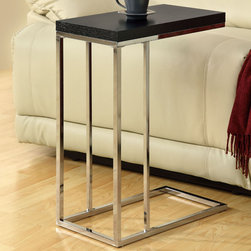 Monarch - Cappuccino Hollow - Core / Chrome Metal Accent Table - What a convenient way to eat or drink on your couch! This beautiful cappuccino finished hollow-core accent table is has suffient space for you to place your snacks, drinks and even meals. Its chromed metal base provides sturdy support along with a fashionable touch that will suit any decor.