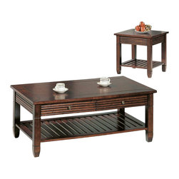 Yuan Tai - Abby 2 Pc Occasional Table Set - One cocktail table and one end table. Sofa table not included. Warranty: Six months from the date of delivery. Made from solid and wood veneer. Dark cherry finish. Assembly requiredCocktail table:. Two drawers. 50 in. W x 20 in. D x 28 in. H (60 lbs.)End table:. Square table. 24 in. W x 24 in. D x 24 in. H (29 lbs.)