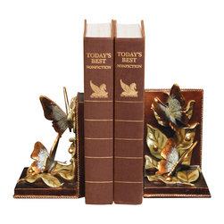 Sterling Industries - Pair Butterflies Foraging Bookends - This pair of bookends features foraging butterflies hand painted in delicate hues of green and gold. Bookends are made of composite materials.