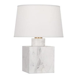 """Robert Abbey Lighting - Robert Abbey Jonathan Adler Canaan Table Lamp - Bulb Type: ASwitch: Hi-Lo DimmingCarrera Marble BaseAntique Brass AccentsOyster Linen Shade w/Self Fabric Top Diffuser*California, Oregon & Washington State Only: Surcharge of $25.00 shows as """"Drop Ship Fee"""" on checkout page."""