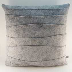 Gray Decorative Felt Pillow with Ribbing by Sheila Weil Studios - Add some texture to your living room with a few felt throw pillows.