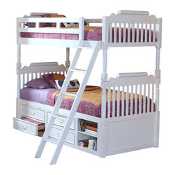 New Classic - New Classic Alexandra Youth Twin Bunk Bed with Storage in Rubbed White - A traditional piece that is fit for two, this classic styleAlexandra Youth Bunk Bed is a perfect solution to dual room sharing. A classic styled furniture design encases this piece with smooth finished slats, fluted pilasters and turned bed-knobs. Storage located beneath the lower bunk provides a space saving way for two to share a room with two drawers and one open storage space each. Unlike ladders that are built into the bed, this decorative and functional piece creates an element of depth with a more sophisticated style. Finished in a rubbed white tone, this bed can easily complement bedspreads that match or eclectic arrangements for sisters with different tastes.