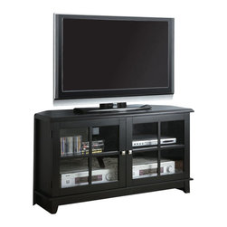 Monarch Specialties - Monarch Specialties 48 Inch Corner TV Console in Black - This corner TV console features a smooth surface, tapered legs, and specifically designed chamfered corners (side angles) that characterize contemporary decor. The flat top provides an ideal resting place for your TV, while beneath it there are shelves inside two glass doors that can hold electronic components, DVD's, or CD's. Simple brushed silver metal knobs contrast with the midnight black veneer finish to add to its appeal. Save space in your living room or bedroom with this corner unit and utilize that wasted corner space you never know how to fill. What's included: Media Unit / TV Stand (1).