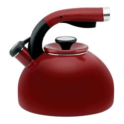 Circulon - Circulon Morning Bird 2 Quart Steel Teakettle, Rhubarb Red - Circulon has been at the forefront of function and style for over a quarter century, and the Circulon 2-Quart Morning Bird Teakettle is another ideal accessory for the contemporary kitchen. The kettle heats up to 8 cups of hot water for several portions of pour-over coffee or a large aromatic pot of steaming vanilla rooibos tea. The teakettles melodic whistle sounds when water comes to the boil, and the squeeze-and-pour handle with a textured rubber grip places the spouts lever at your fingertips for one-hand operation. The sleek profile of the teakettle adds a touch of fashion to function, as do all the great Circulon cookware and kitchenware products.