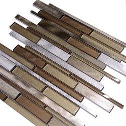 """Backsplash - Metallic Brown Glass Modern Subway Kitchen Backsplash Tile, 12""""x12"""" Sheet - Metallic brown color metal and glass mixed kitchen backsplash tile."""