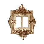 Hickory Manor House - Fleur-de-Lis Double Dimmer Switch Plate in An - Vintage original. Custom made by artisans unfortunately no returns allowed. Enhance your decor with this graceful switch plate. Made in the USA. Made of pecan shell resin. Weight: 1 lb.