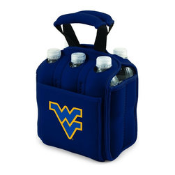 Picnic Time - West Virginia University Six Pack Insulated Beverage Carrier in Navy - When planning to enjoy beverages away from home, the Six Pack is the perfect way to carry them to your destination. The Six Pack is an insulated beverage carrier that fits most water, beer, and soda in bottles or cans up to 20 oz., allowing you to carry an assortment of beverages. It is made of durable neoprene and features a front pocket and reinforced handles. Let the fun begin with the Six Pack by Picnic Time.; College Name: West Virginia University; Mascot: Mountaineers; Decoration: Digital Print