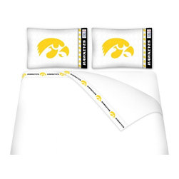 Sports Coverage - Sports Coverage NCAA Iowa Hawkeyes Microfiber Sheet Set - Queen - NCAA Iowa Hawkeyes Microfiber Sheet Set have an ultra-fine peach weave that is softer and more comfortable than cotton! This Micro Fiber Sheet Set includes one flat sheet, one fitted sheet and a pillow case. Its brushed silk-like embrace provides good insulation and warmth, yet is breathable. It is wrinkle-resistant, stain-resistant, washes beautifully, and dries quickly. The pillowcase only has a white-on-white print and the officially licensed team name and logo printed in team colors. Made from 92 gsm microfiber for extra stability and soothing texture and 11 pocket. Sheet Sets are plain white in color with no team logo. Get your NCAA Sheets Today.   Features:  -  92 gsm Microfiber,   - 100% Polyester,    - Machine wash in cold water with light colors,    -  Use gentle cycle and no bleach,   -  Tumble-dry,   - Do not iron,
