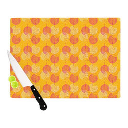 "Kess InHouse - Apple Kaur Designs ""Wild Summer Dandelions"" Gold Circles Cutting Board (11"" x 7. - These sturdy tempered glass cutting boards will make everything you chop look like a Dutch painting. Perfect the art of cooking with your KESS InHouse unique art cutting board. Go for patterns or painted, either way this non-skid, dishwasher safe cutting board is perfect for preparing any artistic dinner or serving. Cut, chop, serve or frame, all of these unique cutting boards are gorgeous."