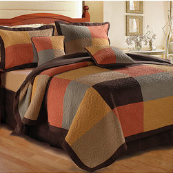 None - Trafalgar 3-piece Quilt Set - Update your bedroom with this soft microsuede bedding set. The three-piece set includes one king-sized comforter and two matching king-sized shams. The set is composed of polyester and cotton in soothing warm colors,and is machine washable.