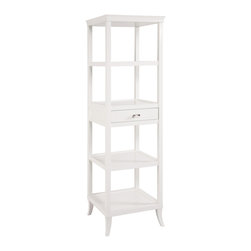 Sterling Lighting - Sterling Lighting Bailey Street Tamara Tower White - The top has a gracefully curved/ removable serving tray. One drawer and four shelves. Diverse functionality as a bar or room divider or as dramatic etagere.