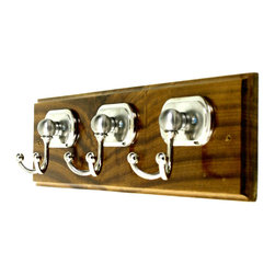 "MarktSq - Wooden Hook Rack (Three Classic Chrome Hooks) - Custom made wooden hook rack with three classic chrome hooks and detailed edging. Like all our other wooden hook racks this too has been made of solid hardwood and has beveled edges. The three double prong hooks give you the added room to organize your scarves, belts, hang robes, towels etc. Approximate Dimensions: L 19.75"" x H 4.8"" x T 0.75"""