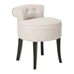Safavieh Furniture - Hannah Vanity Chair - Birchwood legs. Petite tufted back. 100% Beige linen fabric upholstery. No assembly required. 18 in. W x 19 in. D x 23 in. H (12 lbs.)This component of the collection will renovate up any room in your home.