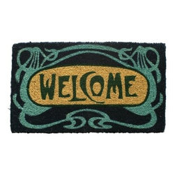 Art Deco Welcome Hand Woven Coir Doormat - The Art Deco Welcome Hand Woven Coir Doormat is the perfect way to welcome guests to your bungalow. Constructed of the highest quality coconut fiber, this doormat greets guests with a classic font and intricate pattern. The design is hand-stenciled and won't fade or discolor with time. Plus, it's densely woven and great for trapping dirt.About EntrywaysFor over 35 years, Entryways has been recognized for their handcrafted mats and unique designs. Combining bright colors, classic designs, and unique graphics, their all-natural coir mats, non-slip mats, and recycled rubber doormats are like no other. Entryways designer doormats are a strong, stylish, and affordable way to bring character to your doorway.