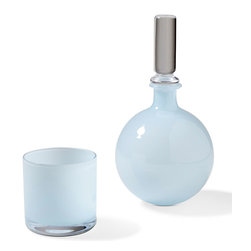 Kathy Kuo Home - Vistula Global Bazaar Opaline Blue Carafe and Glass - Exotic and elegant on a nightstand or bar, this stylish set includes a frosted blue carafe with crystal stopper and coordinating small drinking glass. With hand blown, cased glass from Poland these pretty pieces add a pop of Global Bazaar to any décor.