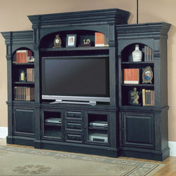 """Parker House - Venezia Entertainment Center - The Parker House Venezia Entertainment Center is the perfect way to display your television. The top rack and bookcase piers have open shelving to display a number of accent pieces, adding a personal touch to your entertainment center. The glass door panels easily to accommodate component storage. Several storage drawers are capable of holding all your CDs, DVDs and Blu-Rays. Storage piers on both sides complete the entertainment center and feature a variety of storage options for your needs. Capable of holding up to a 62"""" TV Set and constructed of high quality solids and veneers, the Venezia Entertainment Center is stylish, functional and built to last a lifetime. Features: -Venezia collection. -Vintage black finish. -Poplar solids with birch veneer construction. -Features a power console in the stand, enabling quick and easy adjustments of components without moving the unit. -Includes left and right piers for additional storage. -Italian country style. -Sand thru with hand applied accents and distressing. Specifications: -TV Stand w/ Power Center: 64"""" W x 20"""" D x 32"""" H . -Crown, Shelf, Backpanel & Side Panel: 68"""" W x 22-1/2"""" D x 61-3/4"""" H . -Side Piers: 30-1/2"""" W x 18-1/2"""" D x 84"""" H."""