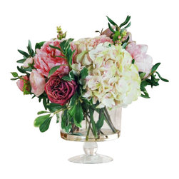 Winward Designs - Garden Flowers In Glass Flower Arrangement - Get the look of freshly cut garden flowers all year-round with this permanent bouquet of hydrangeas, peonies and roses. The elegant glass pedestal is perfect as a centerpiece and would make a cheerful welcome in a formal foyer. No green thumb required!