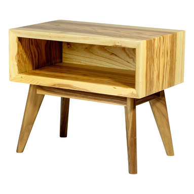 TruCraft Furniture - Mid century modern inspired solid ash end table/ nightstand with walnut legs - This beautiful End Table is the first piece in our Cogswell Collection.
