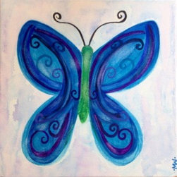 Flutterby (Original) by Marney Williams - I asked my daughter to name this painting for me.  She chose 'Flutterby' for its whimsical nature. Butterflies are magical creatures.