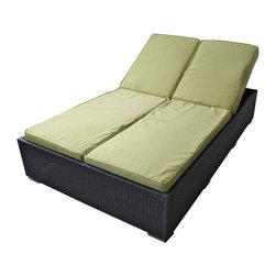 Modway - Evinve Two-Seater Outdoor Chaise Recliner In Espresso With Peridot Cush - All Weather Synthetic Rattan Weave