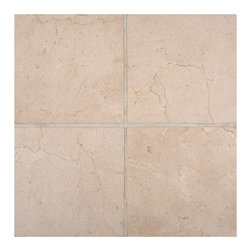 """Marbleville - Crema Marfil 6"""" x 6"""" Polished Marble Floor and Wall Tile - Premium Grade Crema Marfil 6"""" x 6"""" Polished is a splendid Tile to add to your decor. Its aesthetically pleasing look can add great value to any ambience. This Mosaic Tile is made from selected natural stone material. The tile is manufactured to high standard, each tile is hand selected to ensure quality. It is perfect for any interior projects such as kitchen backsplash, bathroom flooring, shower surround, dining room, entryway, corridor, balcony, spa, pool, etc."""