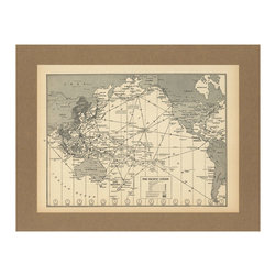Vintage Pacific Ocean Flight Map - An original 1944 map on the Pacific Ocean flight paths, this vintage map comes to you from an old atlas. Showcase your love for the history of aviation with this on display in your home.