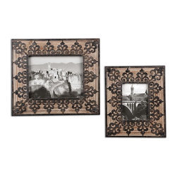 Uttermost - Uttermost 18563  Abelardo Photo Frames, S/2 - Frames are made of natural fir wood with wrought iron metal details. sizes: sm-10x12x1, lg-13x15x1. holds photo sizes 5x7 & 8x10.