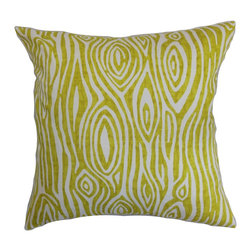 """The Pillow Collection - Thirza Swirls Pillow, Artist Green - This throw pillow is a stunner which deserves a special spot in your home. Place this accent pillow on top of your sofa, couch or bed and let it steal everyone's attention. Green-hued swirls set against a natural background adorns this square pillow. This decor pillow is perfect for indoor use and suits various settings. Measures 18"""" and made from 100% plush and soft cotton material. Hidden zipper closure for easy cover removal.  Knife edge finish on all four sides.  Reversible pillow with the same fabric on the back side.  Spot cleaning suggested."""