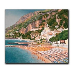 "Amalfi Coast 9x12 Print - ""Amalfi Coast"" is a European Landscape canvas giclee by Patrice Procopio.  This 9x12 canvas is gallery wrapped. We take the fine art canvas and stretch it over a wooden frame, adhering the canvas to the backside of the frame. The canvas actually wraps around the edges of the frame, giving your print the look of a fine piece of art, such as you might find in an art gallery. There is no need for a picture frame. Your piece of art is ready to hang or lean against a wall, or display on an easel."