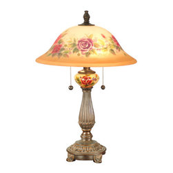 "Dale Tiffany - Dale Tiffany TT60034 16"" x 24"" Rose Porcelain Table Lamp from the Brazilian Rose - 16"" x 24"" Rose Porcelain Table Lamp from the Brazilian Rose CollectionFeatures:"