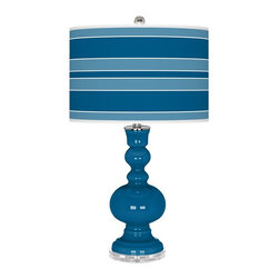 "Color Plus - Contemporary Mykonos Blue Bold Stripe Apothecary Table Lamp - This apothecary style Color + Plus™ glass table lamp will infuse your decor with brilliant color and style. This beautiful Mykonos Blue designer lamp is hand-crafted by experienced artisans in our California workshops. It stands on a lucite base and is topped with a custom made-to-order shade that features a Bold Stripe pattern in rich color tones that complement the base hue. U. S. Patent # 7347593. Designer Mykonos Blue glass table lamp. Bold Stripe pattern giclee-printed shade. Custom made-to-order translucent drum shade. Lucite base. Maximum 150 watt or equivalent bulb (not included). On/off switch. 30"" high. Shade is 16"" across the top 16"" across the bottom 11"" high.  Designer Mykonos Blue glass table lamp.  Bold Stripe pattern giclee-printed shade.  Custom made-to-order translucent drum shade.  Lucite base.  Maximum 150 watt or equivalent bulb (not included).  On/off switch.  30"" high.   Shade is 16"" across the top 16"" across the bottom 11"" high."