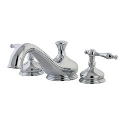 "Kingston Brass - Two Handle Roman Tub Filler - Solid brass construction for durability and reliability, Premium color finish resists tarnishing and corrosion, 13.0 GPM at 60 PSI, 8 1/2"" spout reach, 4 1/2"" spout height, 2 1/2"" spout clearance, 3/4""IPS Inlets, 1/4 turn ceramic disc cartridge, 8""-36"" widespread installation, Ten year limited warranty.; Drip-free ceramic cartridge; 3-hole installation; 8"" to 36"" spread; 3/4"" IPS; All mounting hardware included; Material: Brass; Finish: Chrome; Collection: Heritage"