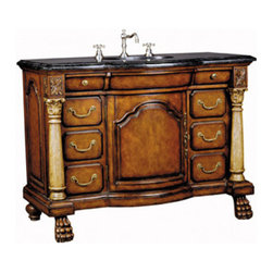 Ambella Home - Kingston Sink Chest - Magnificent cast stone columns, a black granite top and paw feet make this sink chest a true masterpiece of furniture. Multiple drawers add lots of storage room. Balsa porcelain sink installed.  W036. Dimensions: 48 in. x 23.5 in. x 36.5 in.