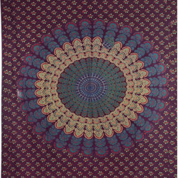 Twin Size Multicolor Indian Floral Mandala Hippie Tapestry Wall Hanging Decor Ar -