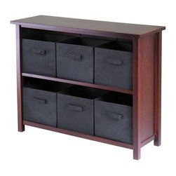 Winsome Wood - Walnut Finished Wood Storage Unit w Six Black - You will enjoy the spacious storage and style provided by this attractive two section unit. Each shelf holds three black fabric baskets, which are made to keep clothes, toys, books, games, and other items neatly put away. The appealing walnut finish will coordinate well in any room of your home. * Verona Collection. Walnut finish unit. Black color baskets. Wood Unit. Fabric baskets. Assembly required. Shelf Unit: 39 in. L x 13 in. W x 30 in. H, 26 lbs. Basket: 10.97 in. L x 10.06 in. W x 9 in. H. 1.2 lbs