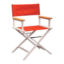 Sutton Bridge - Aluminum Directors Chair in Orange - Lights, camera, action!  Select this superbly crafted director's chair  in your choice of four great colors.  Seat frame is made of high grade aluminum, the wooden arms are coated to protect against mildew, and the chair is kept together by stainless steel hardware.  To top it all off, the manufacturer provides a 15-year warranty on the frame.  Custom embroidery available for extra fee. * Heavy duty construction for long life and durability. Made of hand-welded aircraft strength aluminum. Stainless steel hardware. Seat covers do not sag and are all-weather. Manufacturer's frame warranty: 15 years. Antimicrobial Wooden Arms resist mildew and mold. Comes in 4 colors: Forest Green, Pacific Blue, Jockey Red & Orange. Seat Height: 18.5 in. . 24 in. W x 18.5 in. D x 34 in. H