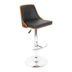 "Lumisource - Nueva Bar Stool, Walnut/Black - 19.25"" L x 17.75"" W x 37.5 - 42.5"" H"