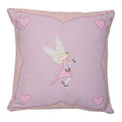 Wingreen - Appliqued Cushion Cover - Fairy - Our Fairy Cushion Cover is appliqued and embroidered with a beautiful Win Green fairy, pretty pink hearts and finished with a rose mini-gingham border.