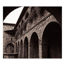 Studio D&K - Black and White Architectural Photography on Gallery Wrapped Canvas - Black and White Architectural Photography Featuring The Courtyard of Castillo di Amorosa in Napa, California.