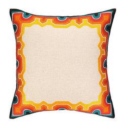 "Peking Handicraft Inc. - Trina Turk Arcata Embroidered Pillow Blue/Orange DF 20"" x 20"" - ""20X20"""" 95% RAMIE 5% COTTON"""