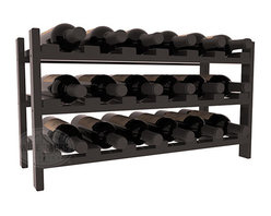 18 Bottle Stackable Wine Rack in Pine with Walnut Stain + Satin Finish - Expansion to the next level! Stack these 18 bottle kits as high as the ceiling or place a single one on a counter top. Designed with emphasis on function and flexibility, these DIY wine racks are perfect for young collections and expert connoisseurs.