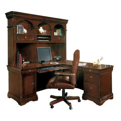 Wynwood - Wynwood Rue de Lyon L Desk and Hutch Set in Cognac Cherry - This Rue de Lyon L Desk and Hutch Set by Wynwood Furnitures provides a traditional look with amazing built-in functionality for your home office. The storage in the desk includes a drop-front, pull-out keyboard tray, a utility drawer with pencil tray, a tower CPU cabinet to use with your computer, and a pull out CD tray. The return has a pull-out center drawer with pencil tray to use as a secondary workspace. Its pedestal features two box drawers and a file drawer. The hutch on top of the L-shape desk offers added storage and display with two CD storage areas inside the drop front drawers and shelves with canister lights. The task light illuminates your work space below.