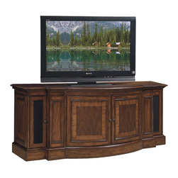 Lexington - Lexington Winchester Media Console 9757-1-WI - Infrared SmartEye allows for remote control of concealed electronic components, surge suppressor includes 5 electrical outlets, cord management, ventilationFar left and far right doors feature interchangeable wood or speaker cloth door panels and conceal 2 adjustable shelves, 2 center doors conceal 1 adjustable shelf, 2 pull-out two-tier media drawers.