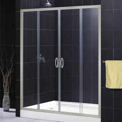 """DreamLine - DreamLine SHDR-1160726-04 Brushed Nickel Visions Visions Sliding - Sliding Shower Door from the Visions Series The DreamLine™ VISIONS shower door offers a simple, yet elegant door design for any bathroom. With center opening sliding doors, anodized aluminum framing in a choice of chrome or brushed nickel finish and options of clear or frosted glass – VISIONS doors offer a great solution for any bathroom remodeling project. The width may be further adjusted to 56"""" if required to fit a more narrow shower or tub opening. The smart design of the two sliding doors includes full length magnetic strips and fast wheel release for easy glass and aluminum bottom track cleaning. Product Specifications:  Two sliding doors Tempered 1/4"""" clear or frosted glass Anodized aluminum profiles and frames Adjustable between 56""""-60"""""""
