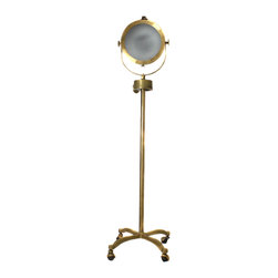 "ecWorld - Hollywood Studio Antiqued Brass Handcrafted 57"" Director's Spotlight Floor Lamp - Add some Hollywood style glamour to your home with this unique handcrafted antiqued floor lamp. Brass finish lamp features a wheeled base for maximum mobility and a metal shade that gives it a professional movie-set look. Imported."